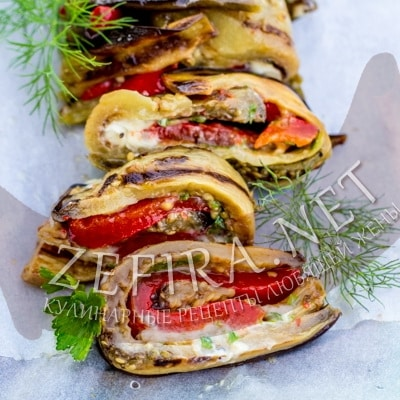Рецепт рулета из баклажанов с начинкой из перца с чесноком