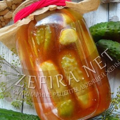 Огурцы на зиму в томатном маринаде