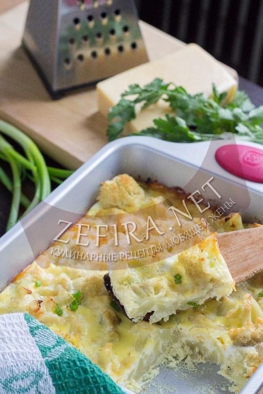 Цветная капуста в духовке с яйцом и сыром