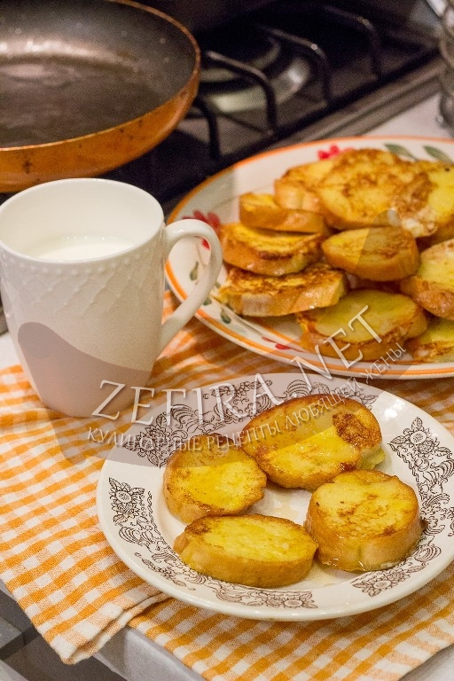 Сладкие гренки с яйцом и молоком - рецепт и фото