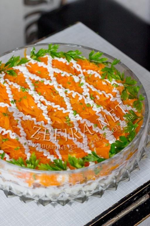 Салат «Лисья шубка» с грибами - рецепт и фото